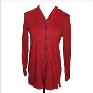 J Jill Button Down Cotton Embroidered Tunic Top